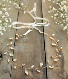 bridal hair vine wedding accesories crystal by JoannaReedBridal