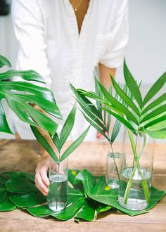 Leaves as a table runner... Easy Summer Dinner Party Lazy Girl Host Advice from a 20 Something Emily Henderson 3