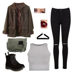 """""""Freaks and Geeks"""" by lztgtrzcvs ❤ liked on Polyvore featuring Barbour, Dr. Martens, Miss Selfridge, Free People, Charlotte Tilbury and Boohoo"""