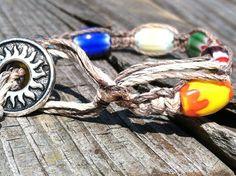 Beach bracelet hemp glass beads macrame by missholly3 on Etsy, $15.00