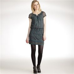 Printed Short-Sleeved Dress with Macramé Trim Printed  £19 - Laredoute