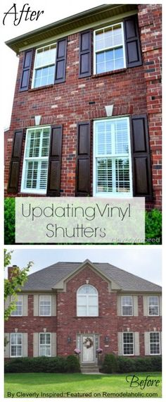 How to update faded vinyl shutters with stain #tutorial featured on Remodelaholic.com