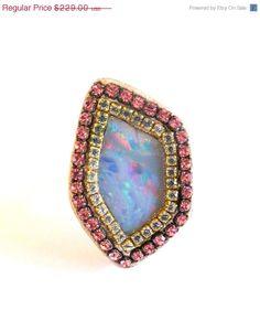 CYBERSALE Amazing opal and crystal sterling by YaronaJewelryDesign, $196.94