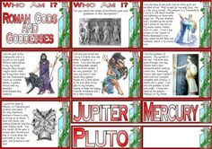 KS2 History Teaching Resource - Roman Gods and Goddesses Matching Cards Instant Display Poster Set
