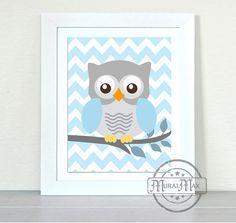 Owl Decor - Baby Boy Nursery - Owl Print - wall art - Boys Woodland Owl Nursery Art - 8x10 Owl Decor, Blue and Gray