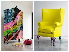 Painted+Furniture | Graffiti and Furniture Design… | Fabrics and Frames Furniture