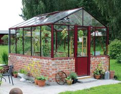 Love the bricks. Home Greenhouse, Small Greenhouse, Glass House Garden, Home And Garden, Euro, My House, Pergola, Backyard, Decoration