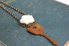 Flower Key Necklace, Long Key Necklace, Found Object Jewelry, Vintage Key, Shabby Chic Jewelry, Necklace for Girlfriend, White Flower by outoftheblue on Etsy
