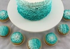 ombre teal ruffles cake and cupcakes! LOVE!!!!!!!!!!!!!!!!!!!!!!!!!!!!!!!!!!!!!!!!!!!!!!!!!!!!!!!
