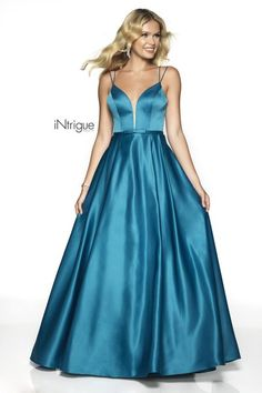 A line satin ballgown that features a sweetheart neckline, thin double straps, and a bow accent waist. Blush Prom, Ball Gowns, Teal, Satin, Bridal, Formal Dresses, Rose, Fashion, Ballroom Gowns