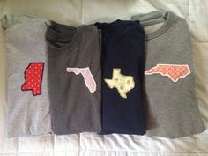 Long Sleeved Embroidered State T Shirt by StarSpangledChic on Etsy