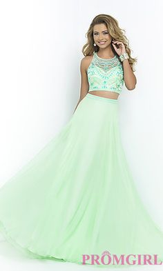 Blush Two Piece Prom Dress at PromGirl.com