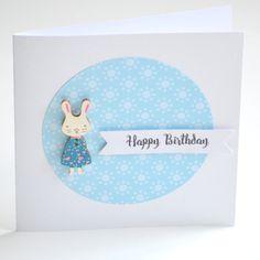 Birthday Card Girl | Bunny Rabbit Birthday Card | Girl Birthday Card | Bunny Rabbit Card | Cards for kids| Handmade Greeting Cards |BDAY002 - pinned by pin4etsy.com