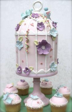 Small Pink Birdcage & cupcakes  Cake by KissMyCake
