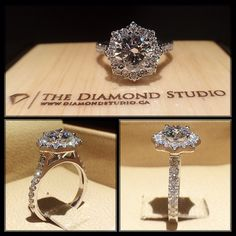 I'm so excited to finally show off this design. Now that my client proposed I am able to do so. This ring was made with a 1.00ct diamond. The diamond sits on a star shaped italian pave halo. The thin shank was also done in an Italian pave setting. #diamond #diamonds #wedding #weddings #engagement #ring #rings #bride #brides #jewellery #jewelry #halo #diamondboi