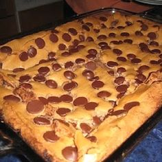 Paula Deen's chocolate chip oey goey cake.