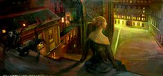 Cats and Woman-Oil on panel-180x90cm-Gaspard Schlum