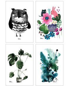 Musta pöllö Puutarhakaverit Peikonlehti Metsän vihreät Hiiri ja kukat: nämä postikortit tulevat HIP-designkujalle Sokrun matkassa. Kuva #repost @sokruissugar . . .  #prints #illustration #outivirtanen #design #kuvitus #finnishdesign #interior #decor #sisustus #nature #luonto #summer #kesä #owl #garden #printedinfinland #finnishdesign #lastenvaatekarnevaali #hipdesignkuja