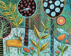 Deer 14x11 Birds Trees Forest ORIGINAL Canvas PAINTING Abstract FOLK ART Karla G