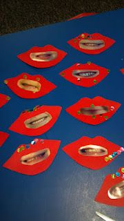 I did this last year but made it into a class book (for Dental Health Month!)! I took close up pictures of the students smile and glued them onto lip cutouts and glued a picture of the student on the back... the littles had so much fun guessing each of their friends smiles :) :)