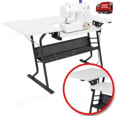 New-Craft-Desk-Sewing-Machine-Table-Station-Shelf-Storage-Work-Area-Adjustable