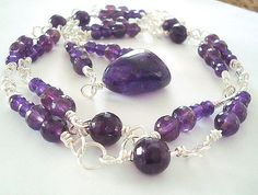Necklace  African Amethyst  40 inches of by CrookedCrystal on Etsy, $50.00