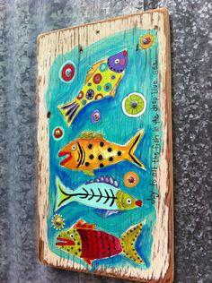 Joy to the Fish Original Painting on Repurposed by evesjulia12