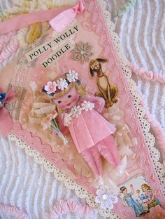 Vintage Style Pink Whimsical Paper Posy Doll by saturdayfinds