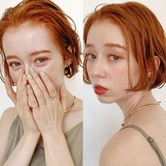 Ginger Hair Color, Hair Color And Cut, Kawaii Hairstyles, Bob Hairstyles, Shot Hair Styles, Hair Designs, Hair Inspo, Short Hair Cuts, Dyed Hair