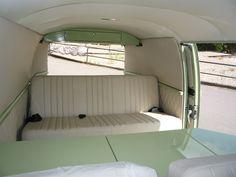 sage and cream interior campervan idea