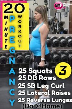 20-Minute Pregnancy Workout that can be done from home. Great safe #pregnancy #exercises and don't take a lot of time. Lots of great Pregnancy Workouts in this blog. http://michellemariefit.publishpath.com/20-minute-pregnancy-workout-at-home