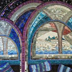 Memory of Udaipur, Smalti Glass mosaic with mirror pieces on plywood. 600 x 600mm, Caitlin Hughes 2012