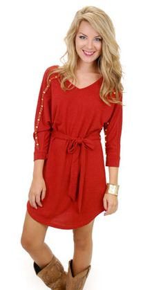 Shine on Sweater Dress, Brick :: NEW ARRIVALS :: The Blue Door Boutique