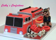 Paw Patrol cake  Fire truck cake  Www.Facebook.com/cathysconfection