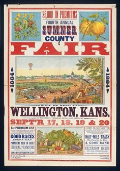 View of poster for Sumner County fair, 1894 Vintage Prints, Vintage Posters, Vintage Photos, Peanut Festival, Wedding Fair, County Fair, Vintage Circus, Reference Images, Party