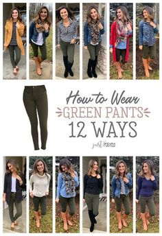 How to wear green pants 12 different ways! I love that you can wear these olive . Outfits for Work : How to wear green pants 12 different ways! I love that you can wear these olive . different green love olive pants these ways wear wear green pants Look Fashion, Autumn Fashion, Fashion Outfits, Curvy Fashion, Dress Fashion, Fashion Sandals, Womens Fashion For Work, Fashion Clothes, Fashion Tips