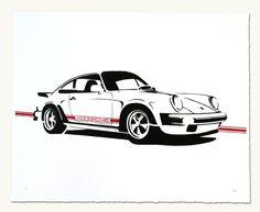 """Print of Porsche 911SC (white) 20"""" x 16"""" $50.00"""