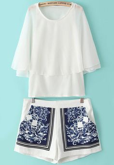 White+Batwing+Split+Sleeve+Top+With+Tribal+Print+Shorts+25.26