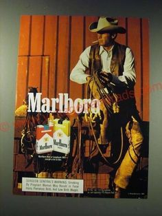 1987 Marlboro cigarettes Ad - Marlboro-This is a 1987 ad for a Marlboro cigarettes! The size of the ad is approximately The caption for this ad is 'Marlboro' The ad is in great condition. This vintage ad would look great framed and disp Marlboro Cowboy, Marlboro Man, Vintage Cigarette Ads, Vintage Ads, Lee Horsley, Cutting Horses, Marlboro Cigarette, Cowboy Pictures, Cowboy Outfits