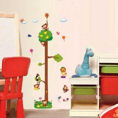 Gyerekszoba falmatricák : Magas fa majmokkal magasságmérő.  #magasságmérő #majom…