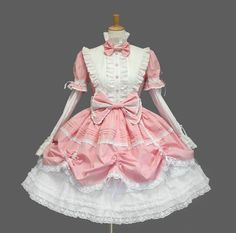 Ladies Sweet Pink White Short Sleeve Tiered Layered Lolita Cosplay Dress