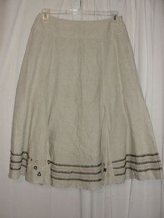CHICO'S 8/10 Neutral A-line Detailed Hem 100% Linen Skirt Side Zipper Size 1 M #Chicos #ALine