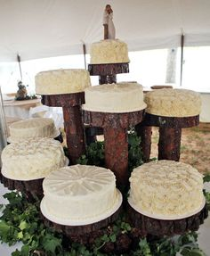 Deconstruct your cake and display individual tiers on multi-leveled tree trunk cake stands.