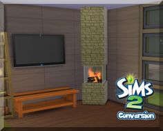 Incognito Fireplace from the Sims 2 at SimLifeCC via Sims 4 Updates