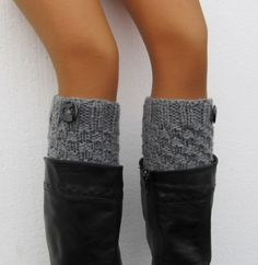 Hand Knitted Boot Cuffs Leg Warmers  Chunky Leg warmers by Sizana