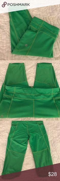 SALE SALE today!!!!Athleta Athleta capri leggings with a side pockets in barely used condition aqua green color Athleta Pants Capris