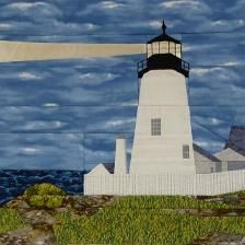 Looking for your next project? You're going to love Pemaquid Point, ME Lighthouse by designer Pattern Blocks, Pattern Art, Bed Quilt Patterns, Sewing Patterns, Ocean Quilt, Indian Paintbrush, Quilts For Sale, Custom Quilts, Quilt Blocks
