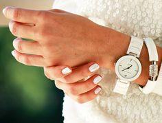 Anne Klein ceramic link bracelet with diamond dial watch white blogger style