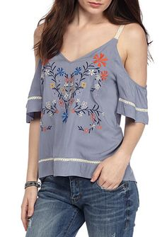 Eyeshadow Cold Shoulder Chambray Embroidered Blouse