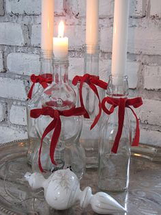 Advent candles in bottles. Or just a pretty way to add Christmas light.